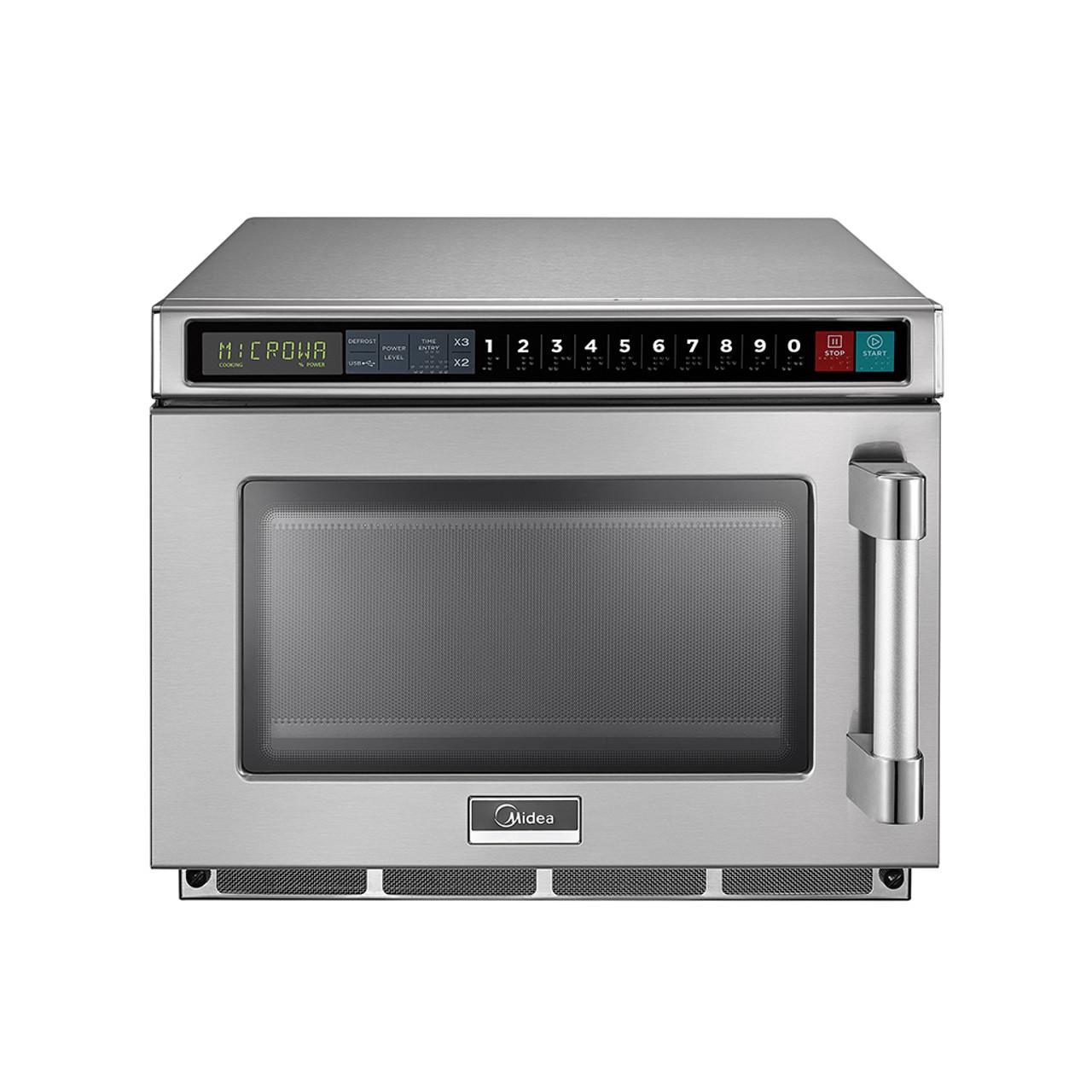 midea 2117g1a 0 6 cu ft 2100w push button commercial microwave 208v