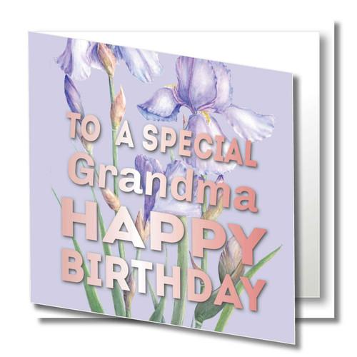 Iris Grandma Birthday Fine Art Greeting Card Free Shipping Zaquarella Greeting Cards