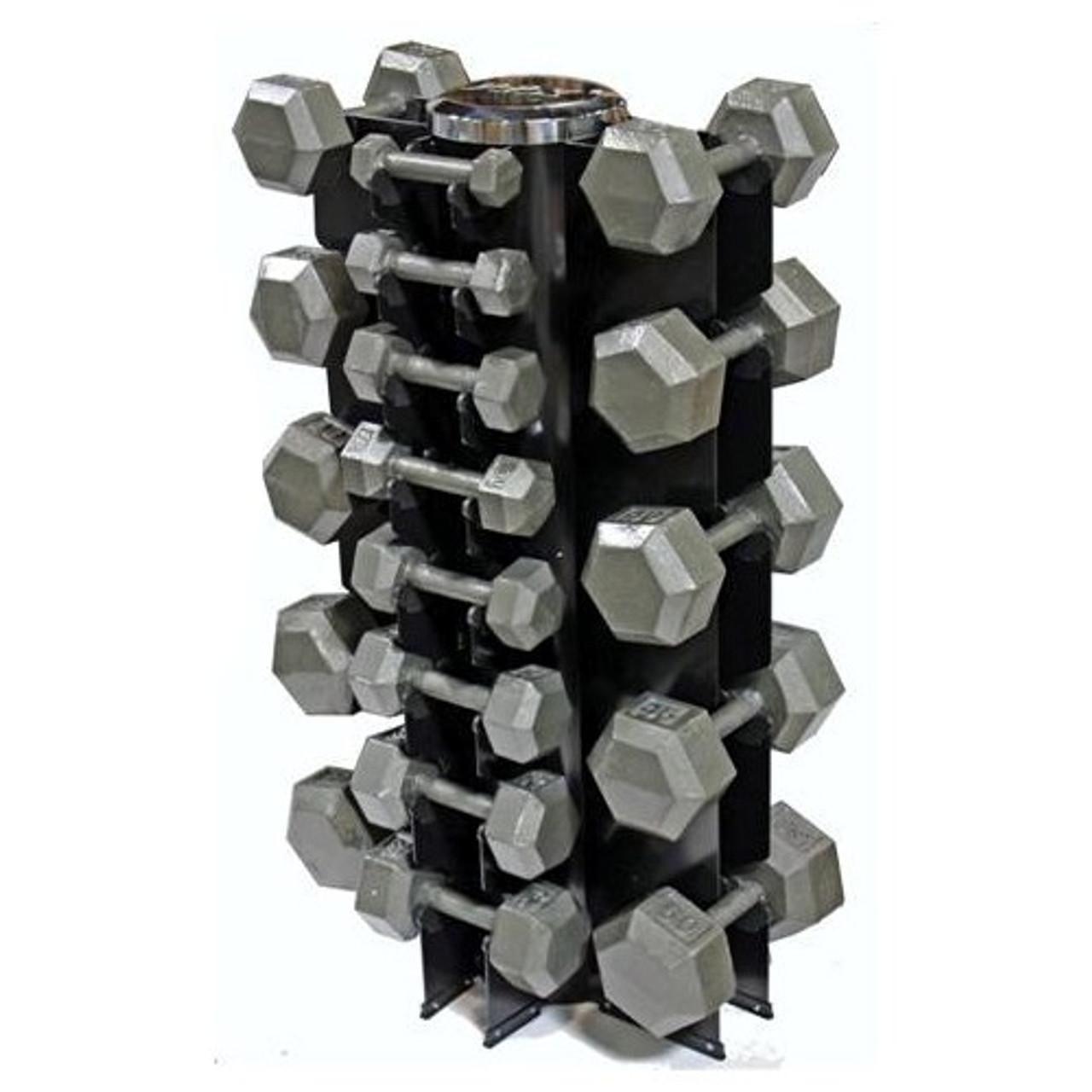 troy vtx 3 50 lb iron hex dumbbells rack