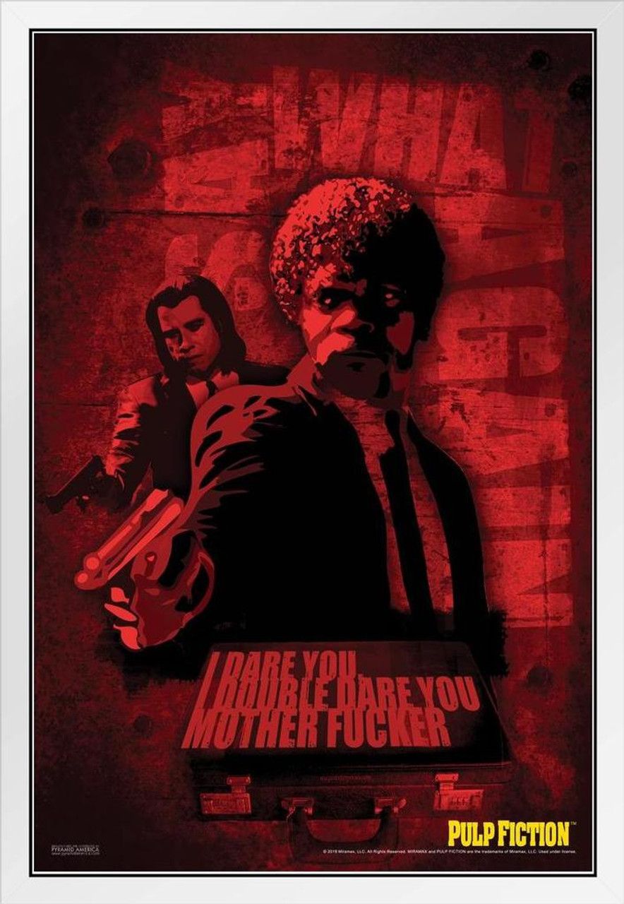 pulp fiction white wood framed poster jules winnfield say what again i double dare you retro vintage classic quentin tarantino samuel l jackson 90s