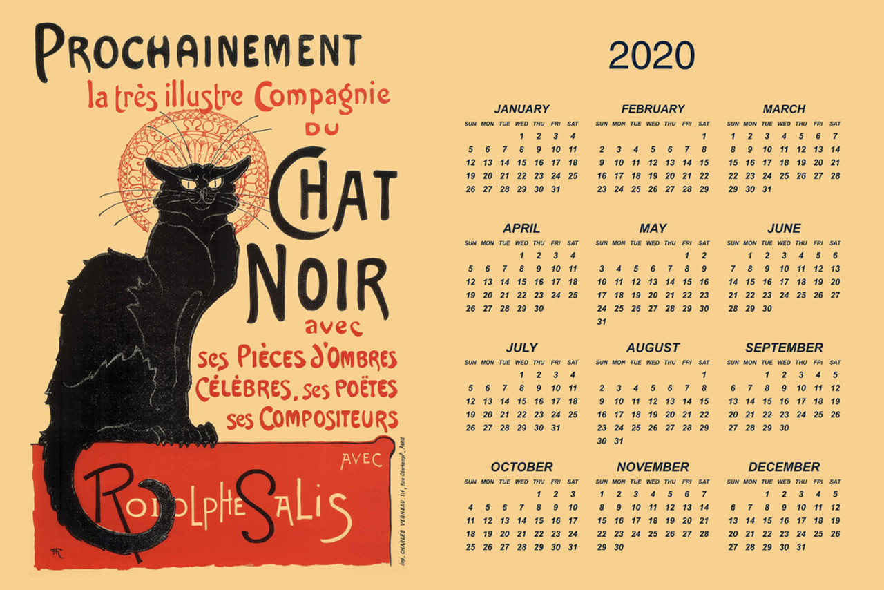 le chat noir the black cat day monthly 2020 wall calendar poster 12x18 inch