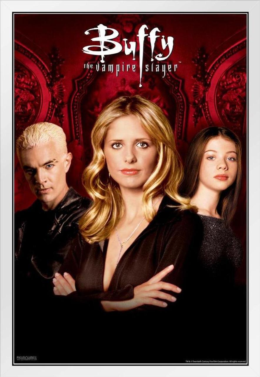 buffy the vampire slayer season 5 trio 90s tv show series horror white wood framed poster 14x20