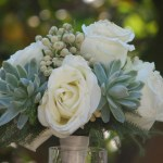 Wedding Bouquet Succulents And White Roses Cactus Limon