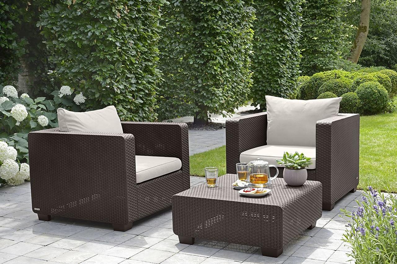 keter 236842 rich brown resin wicker patterned salta outdoor patio armchair