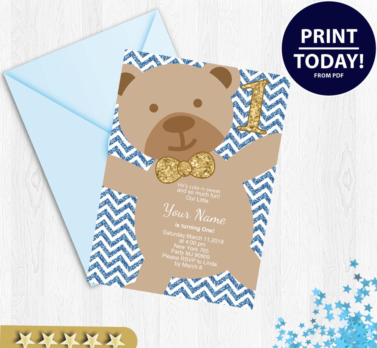 boy bear birthday invitation bear birthday invitations chevron background bear birthday party my 1st birthday digital invitation printables