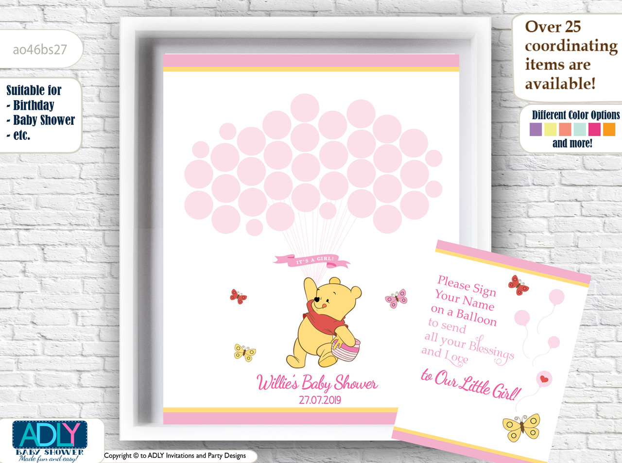 winnie the pooh baby shower guestbook for baby girl winnie the pooh baby shower pritnables birthday printables in pink and yellow