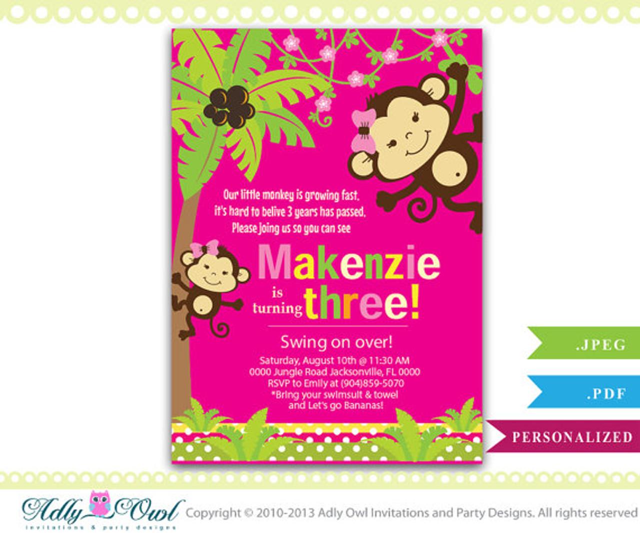 https www adlybabyshower com personalized girl monkey 3rd birthday invitation card printable diy third birthday invite turning three only digital file ao01hb
