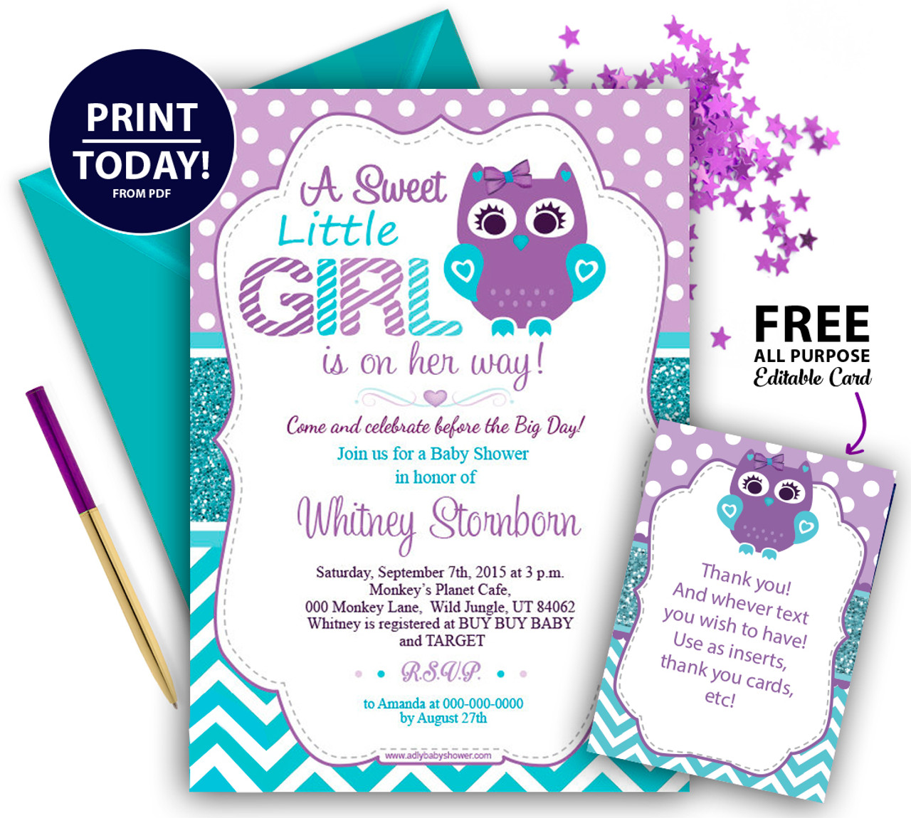 Turquoise Baby Shower Prince Template