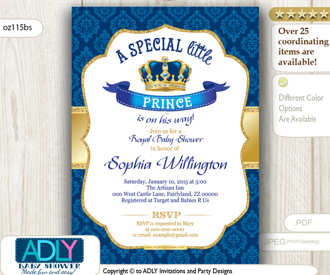 royal blue gold vintage crown prince king invitation for baby shower true royal blue color