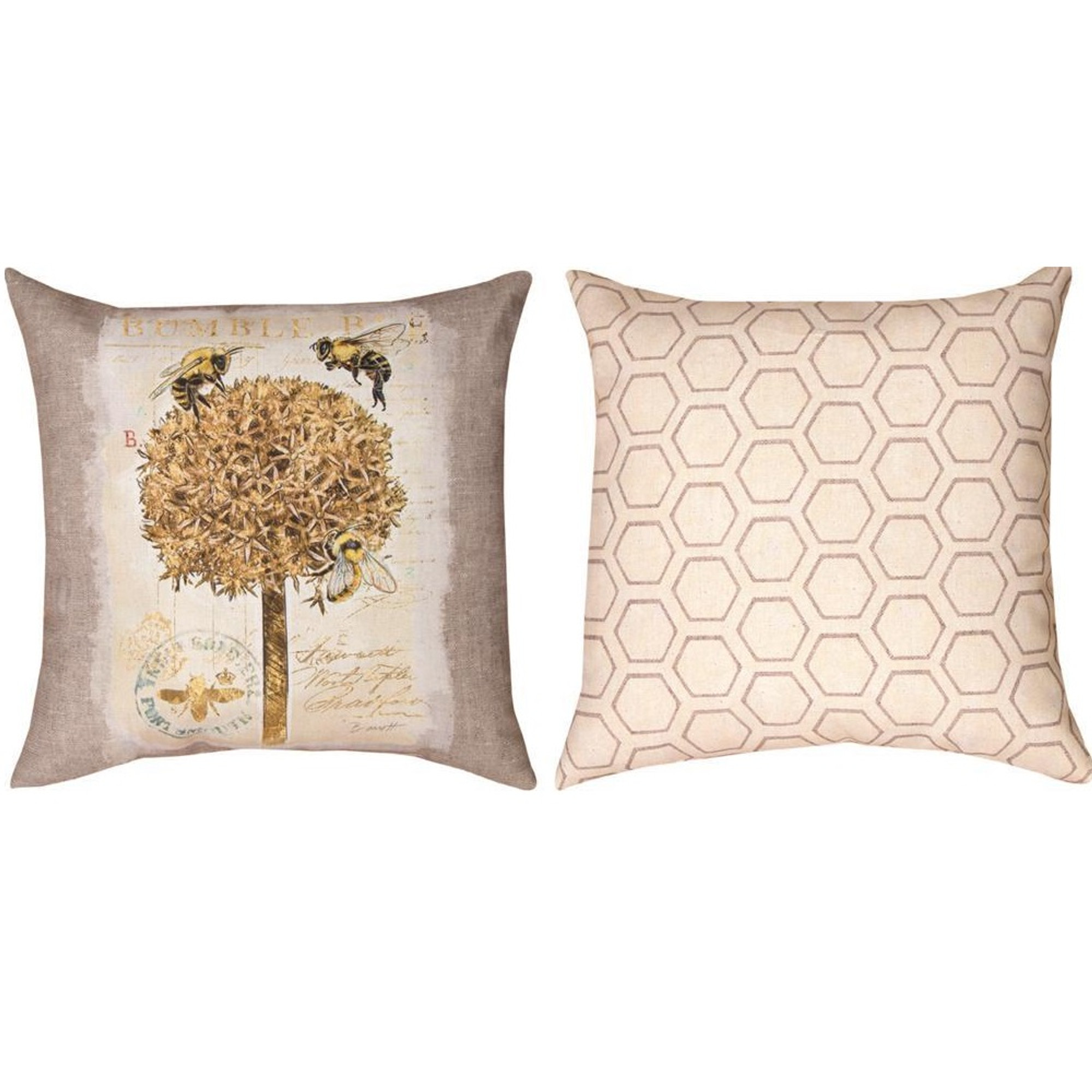 bumble bee and flower reversible throw pillow
