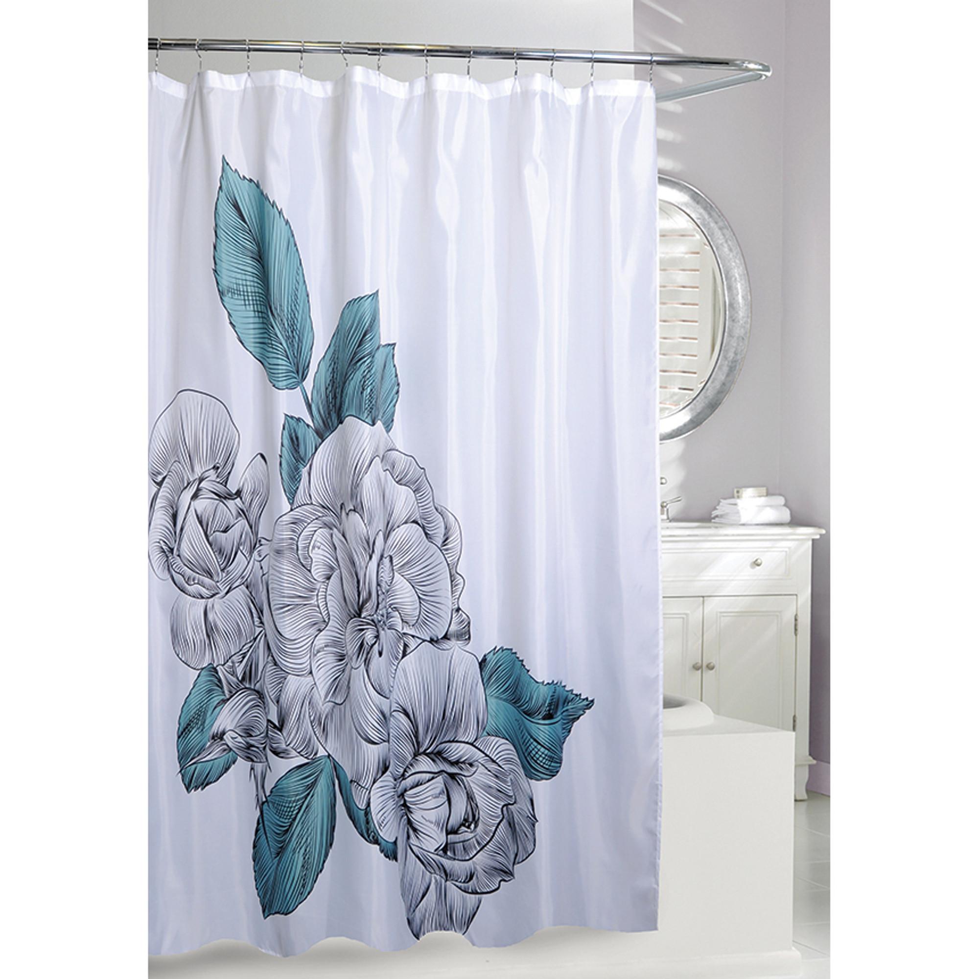 flower fabric shower curtain blue sketch floral