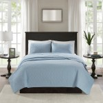 Hudson Bay Blue Quilted Coverlet Set Queen Size
