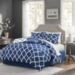 Navy Blue And White Fretwork Comforter Set Queen Size Caron S Beach House