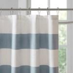 Spa Blue Striped Shower Curtain