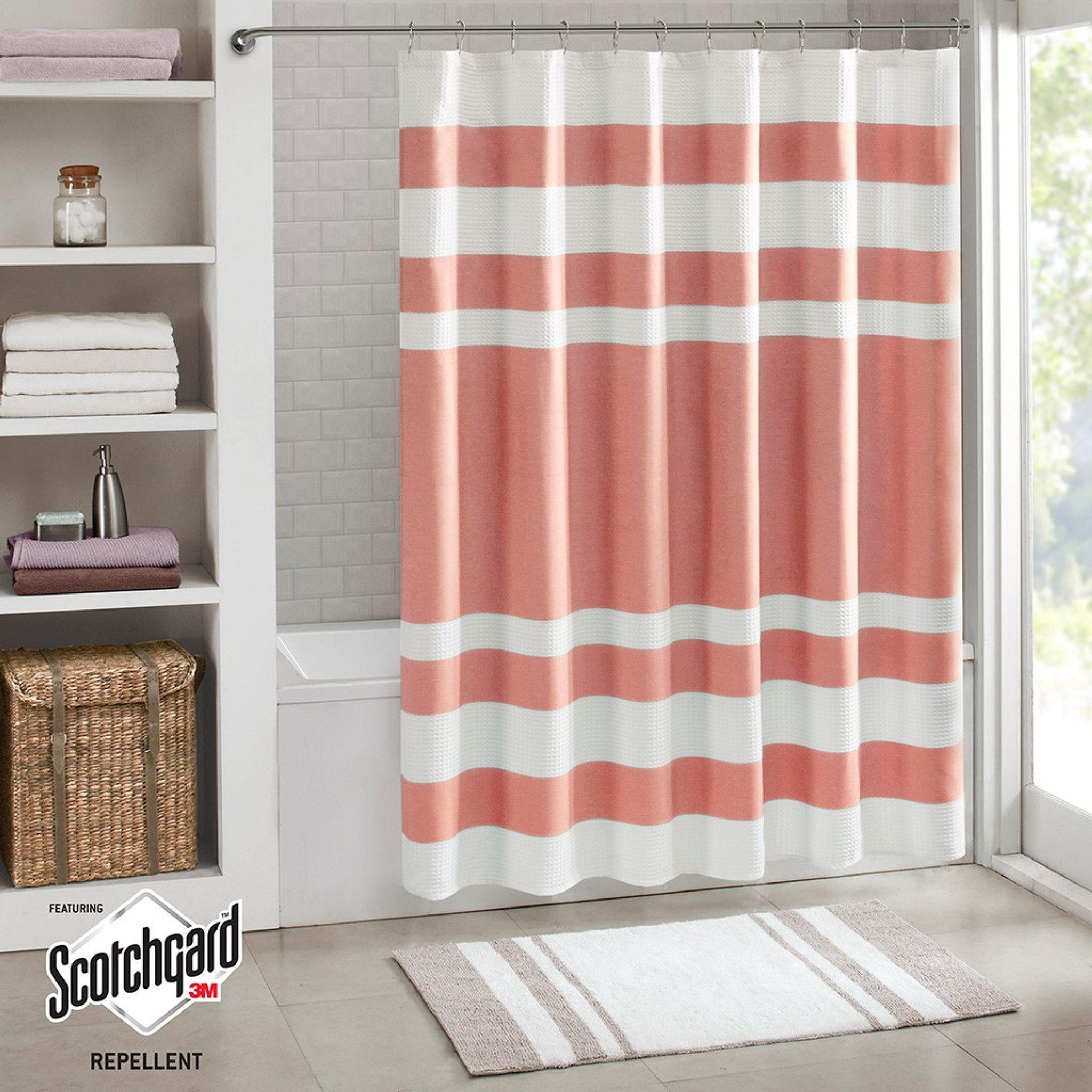 Spa Coral Striped Shower Curtain