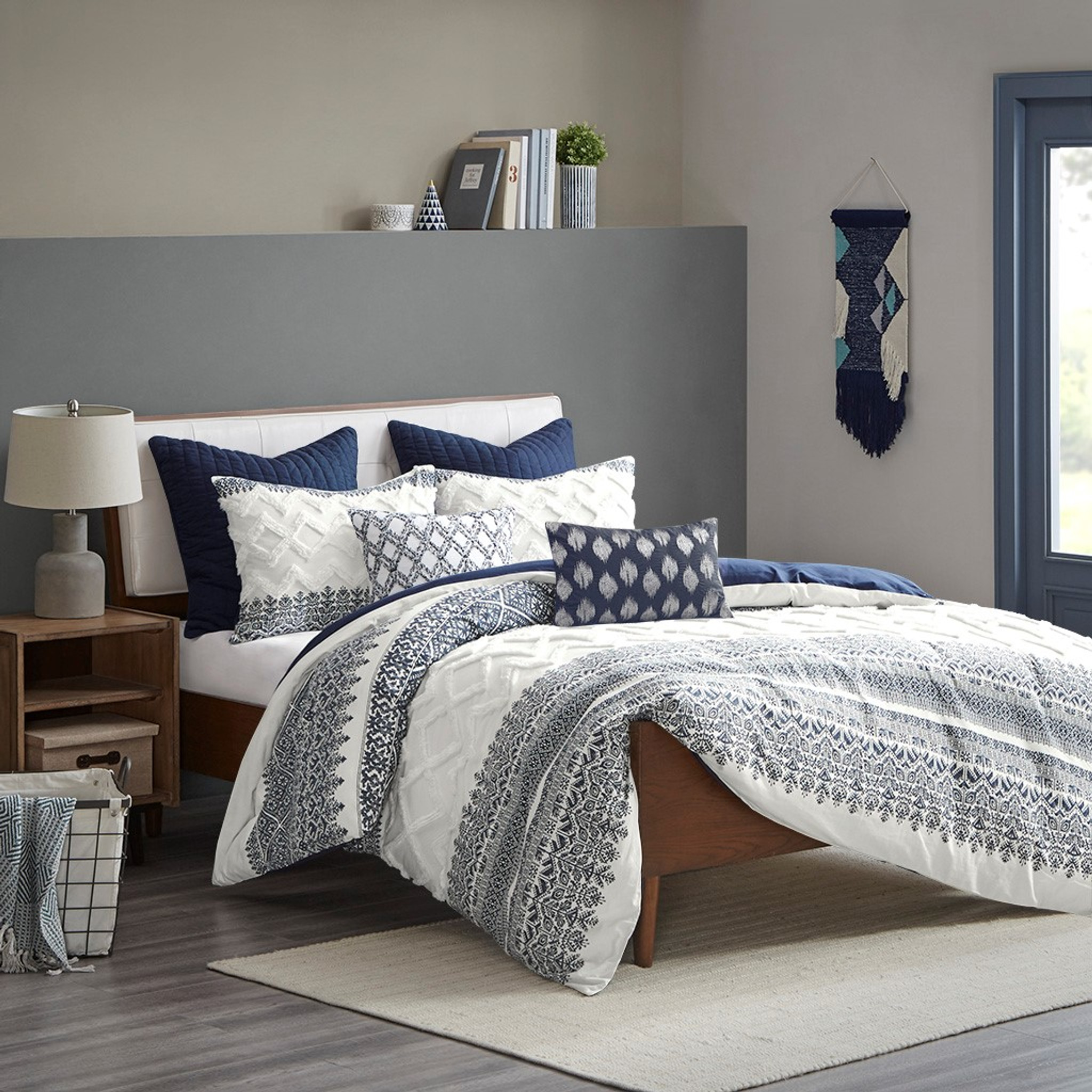 malibu boho navy and white comforter set king