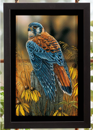 Fencepost Perch Kestrel Bird Stained Glass Wall Art Wall