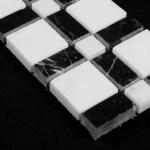 Statuary Crystal Marble Italian White Statuario Border Tile With Nero Marquina Black Polished