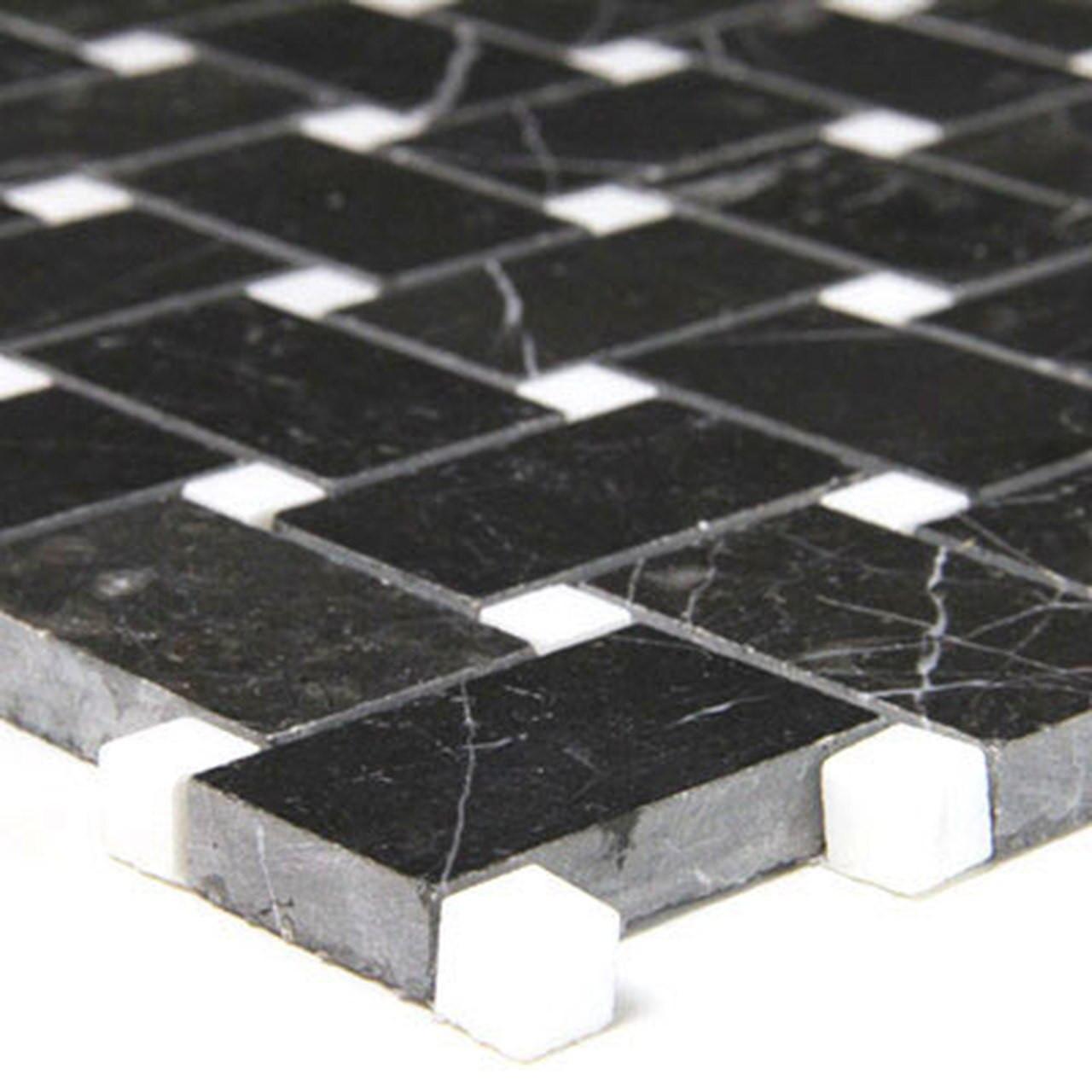 nero marquina black marble basketweave mosaic tile with white dots polished
