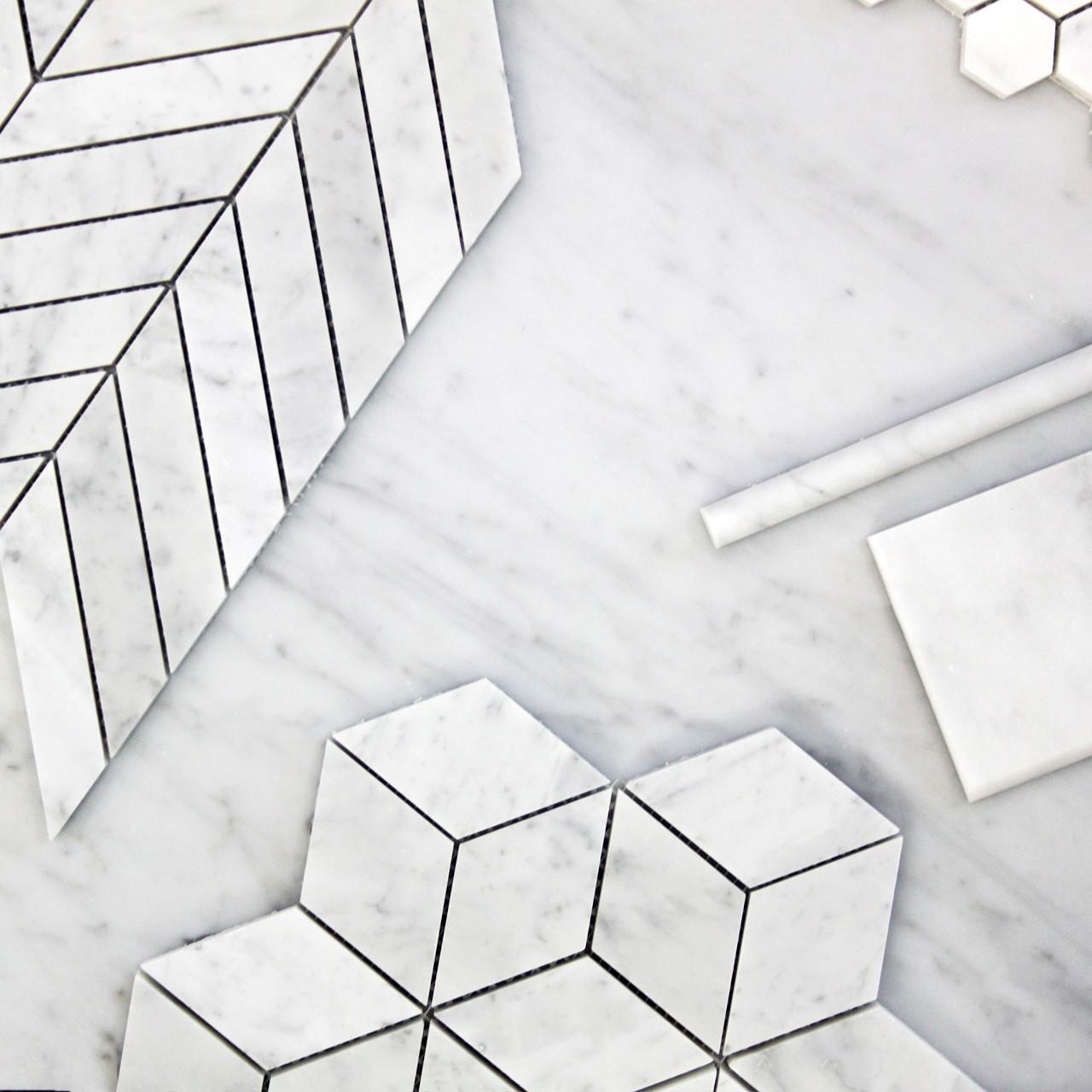 carrara white italian marble 1 x 4 chevron mosaic tile honed