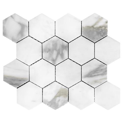 calacatta gold italian marble 3 hexagon mosaic tile honed