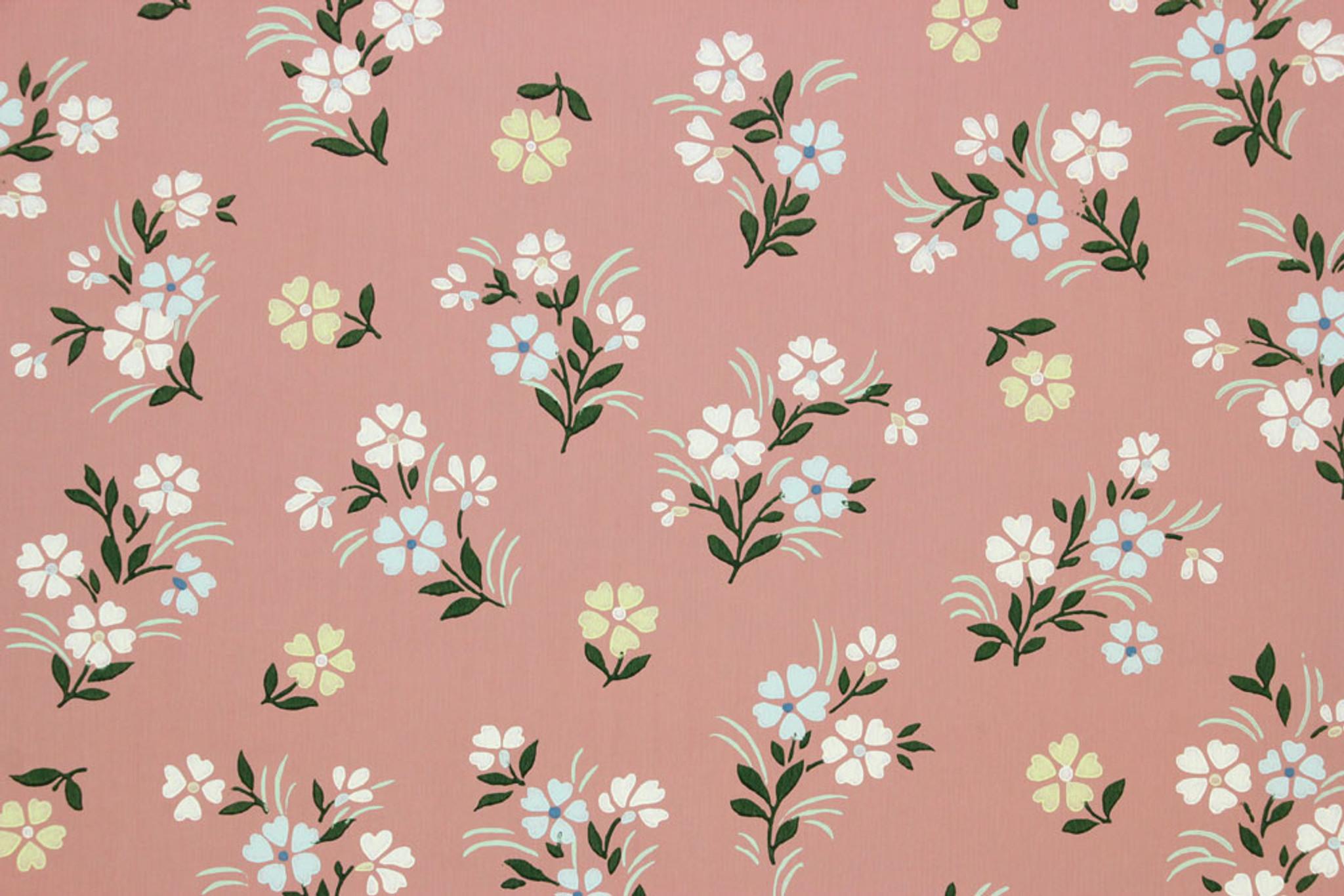 1940s Vintage Wallpaper Small Flowers On Mauve Rosie S Vintage Wallpaper