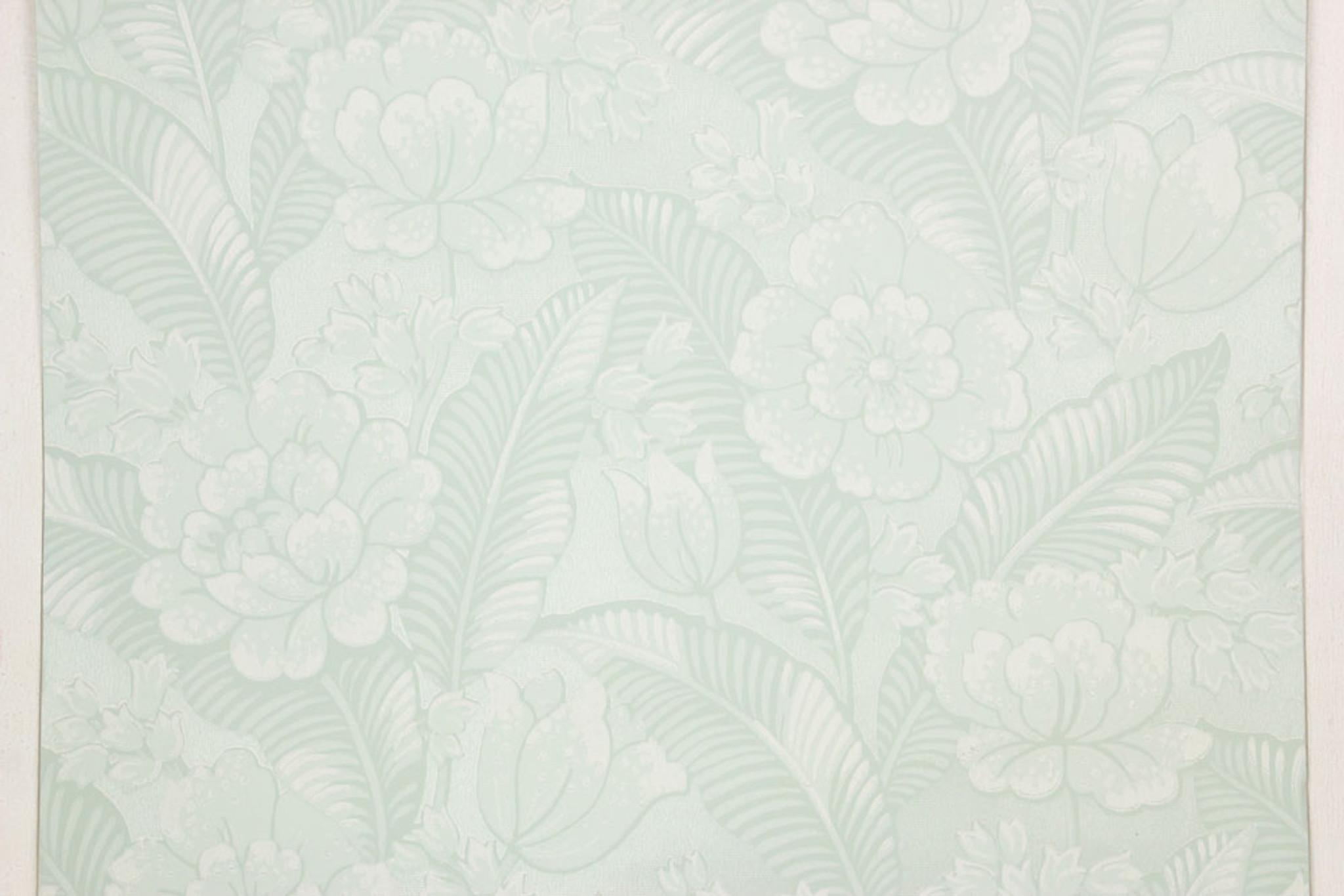 1960s Vintage Wallpaper Large White Flowers On Light Green Rosie S Vintage Wallpaper