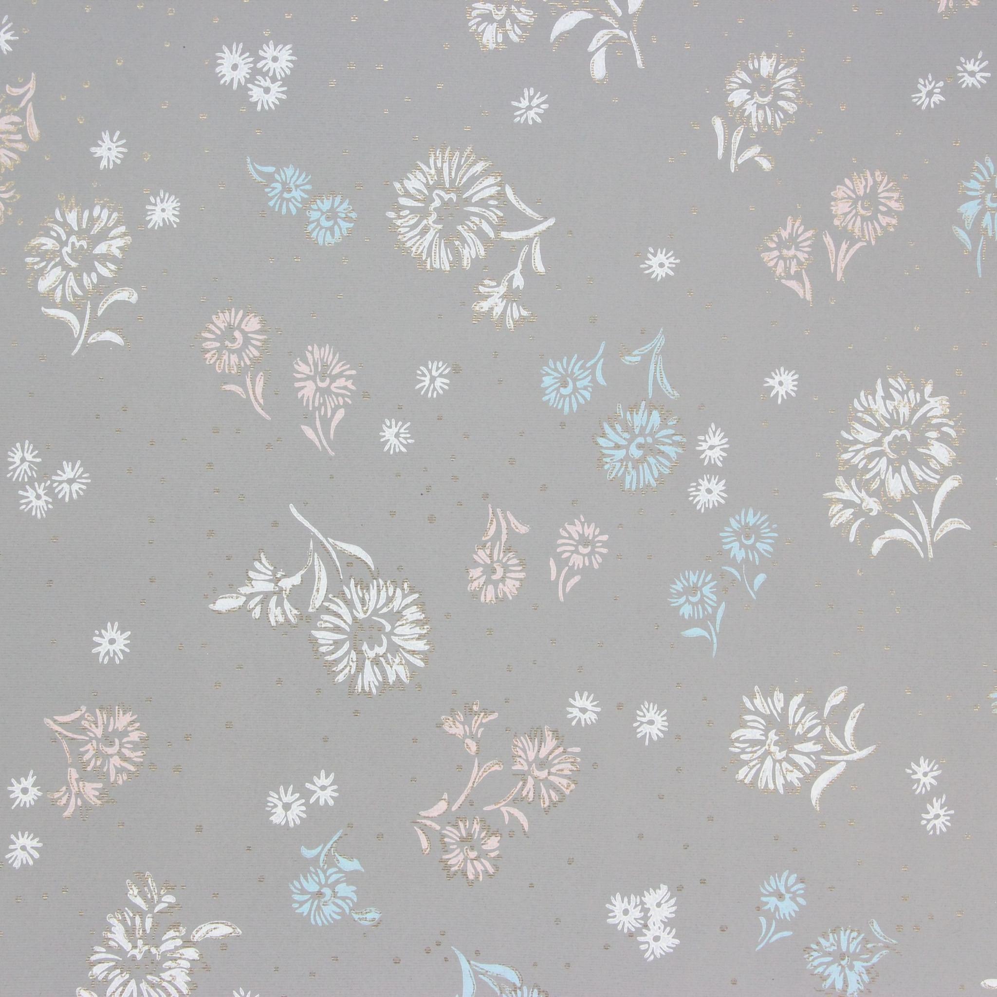 1940s Vintage Wallpaper White Blue Flowers On Gray Rosie S Vintage Wallpaper