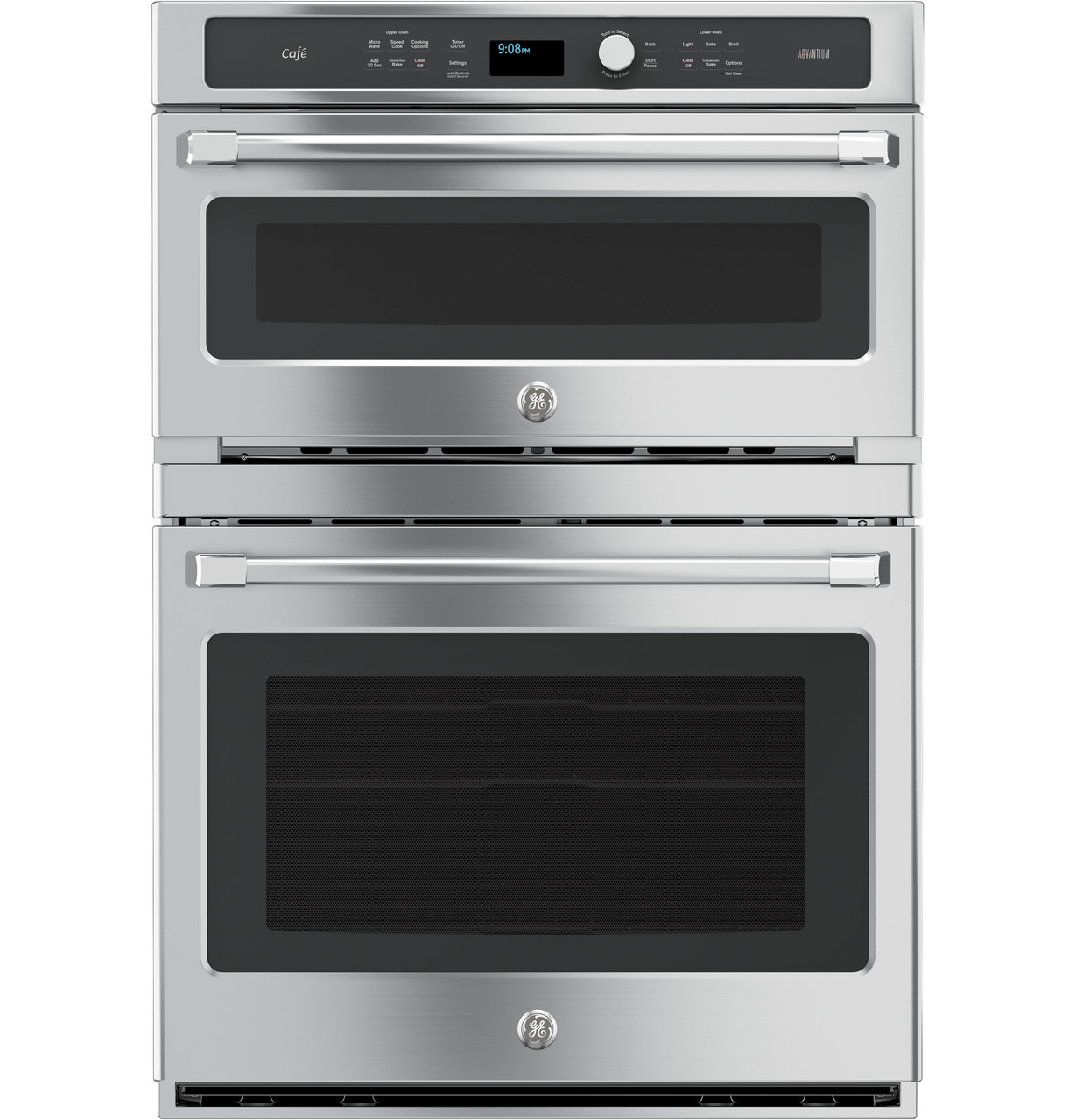 ge cafe series 30 in combination double wall oven with convection and advantium technology ct9800shss