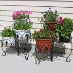 Sunnydaze French Lily Design Three Tiered Plant Stand 22 Inch Tall Set Of Two