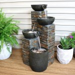 Sunnydaze Staggered Cascading Pottery Bowls Tiered Outdoor Water Fountain 34 Inch