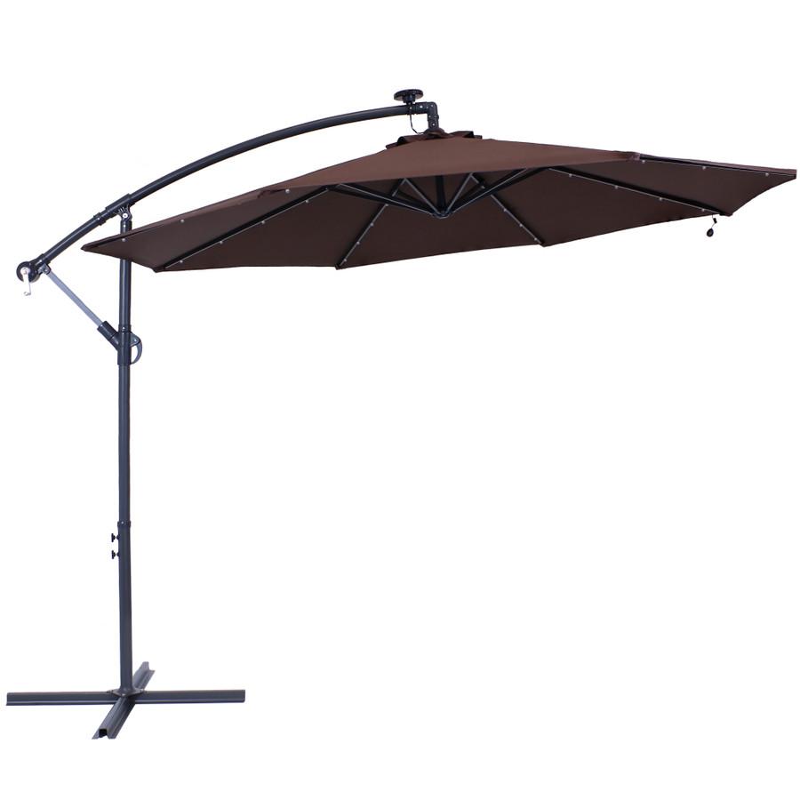 sunnydaze solar led 10 foot offset patio umbrella with cantilever crank and cross base