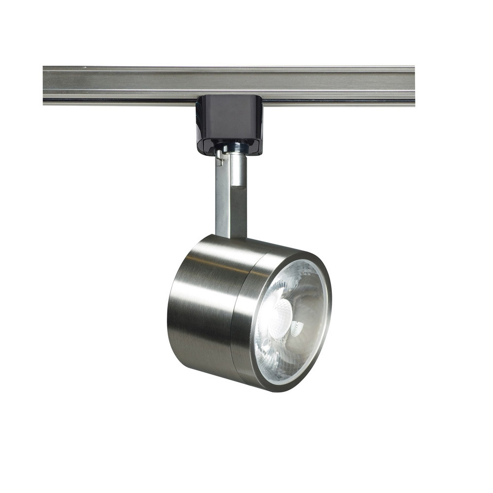 low profile led track lighting fixture with round head brushed nickel finish 24o beam 12 watt 820 lumens 3000k soft white color temperature