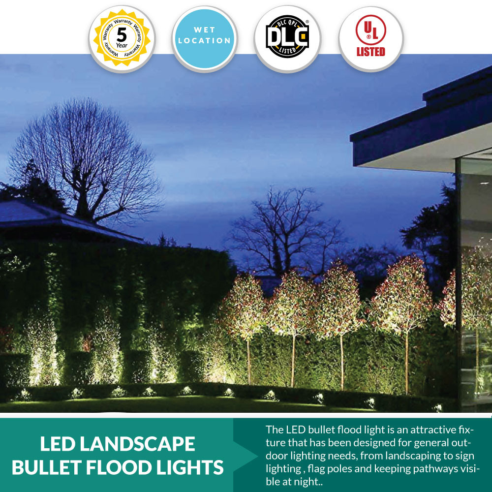 15 watt led landscape bullet flood light series 2 1500lumens 1 2 knuckle mount 5000k cool white color temperature
