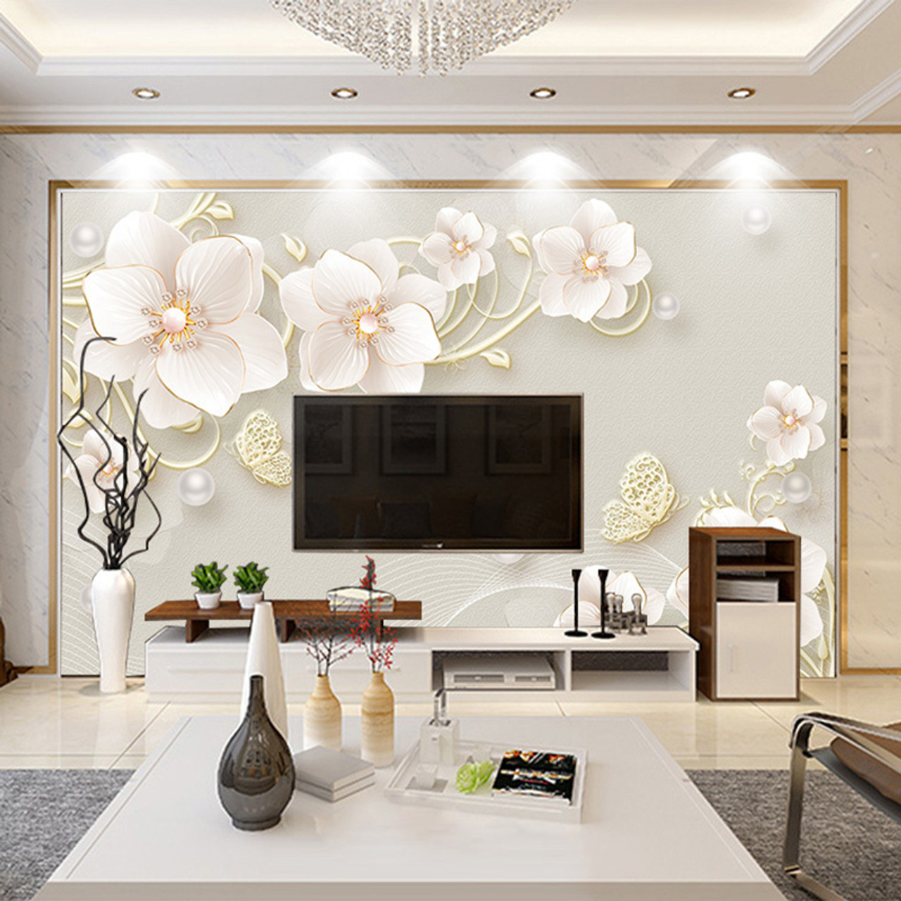 Custom Mural Wallpaper 3d Stereo Relief Jewelry Flower Modern Simple European Style Living Room Tv Background Photo Wall Paper Onshopdeals Com
