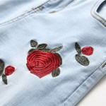 Ripped Jeans With Embroidery Men With Flowers Rose Embroidered Men S Denim Jeans Stretch Skinny Push Size 40 42 Jeans Pants Onshopdeals Com