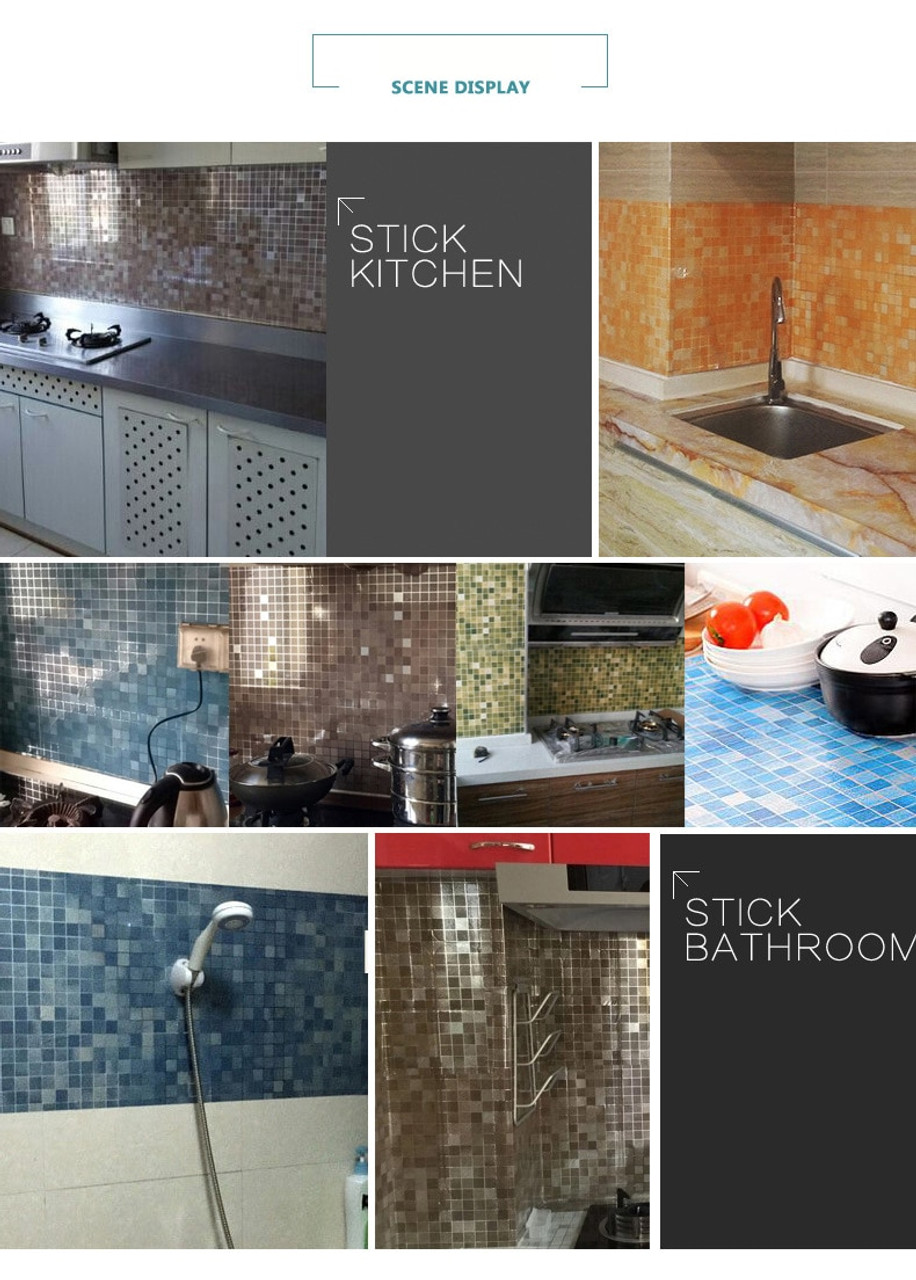 vinyl oilproof wall stickers home decor self adhesive wallpaper pvc mosaic tile for bathroom kitchen backsplash contact paper