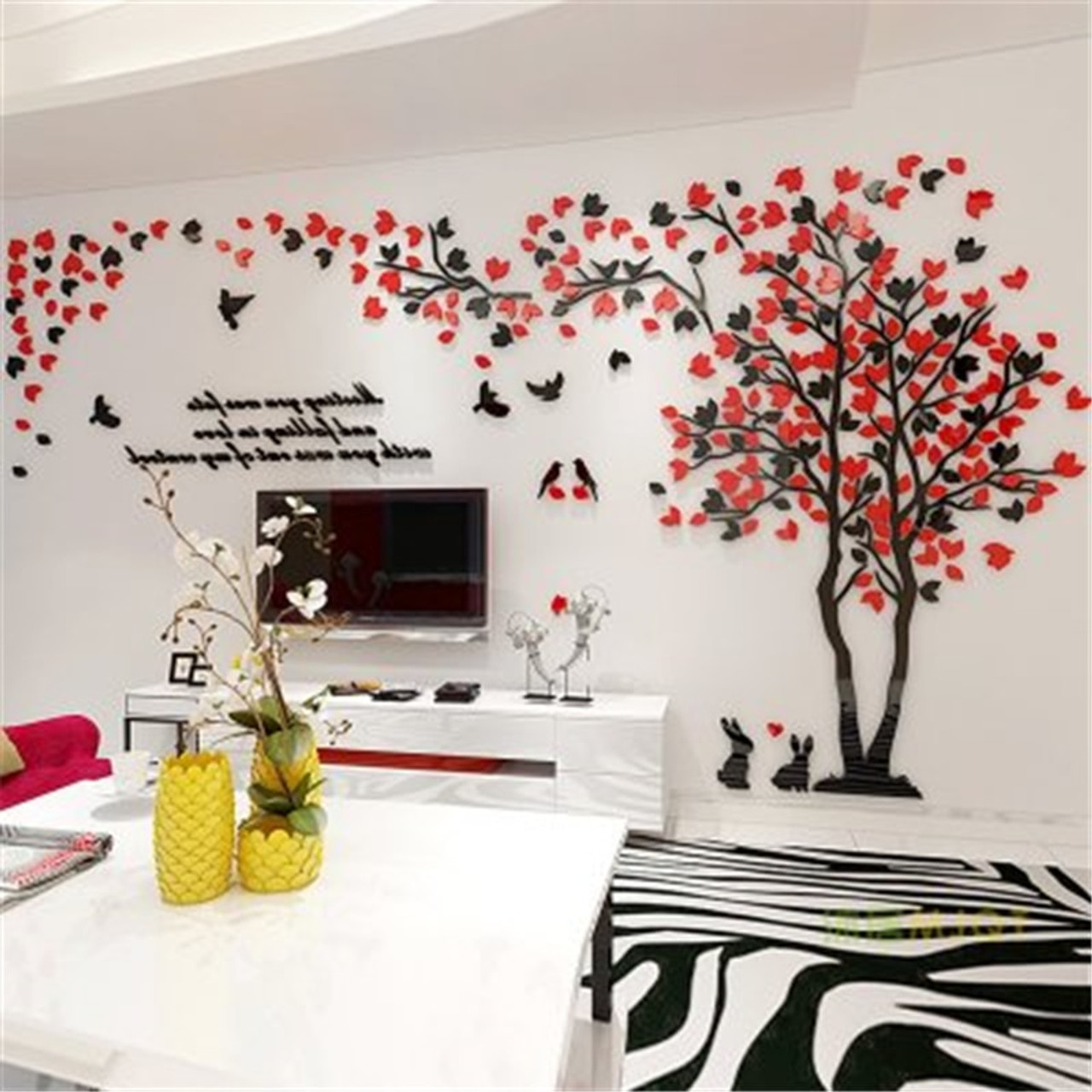 creative couple tree 3d wall stickers living room bedroom home wall art decor diy acrylic wall sticker decal cartoon big tree