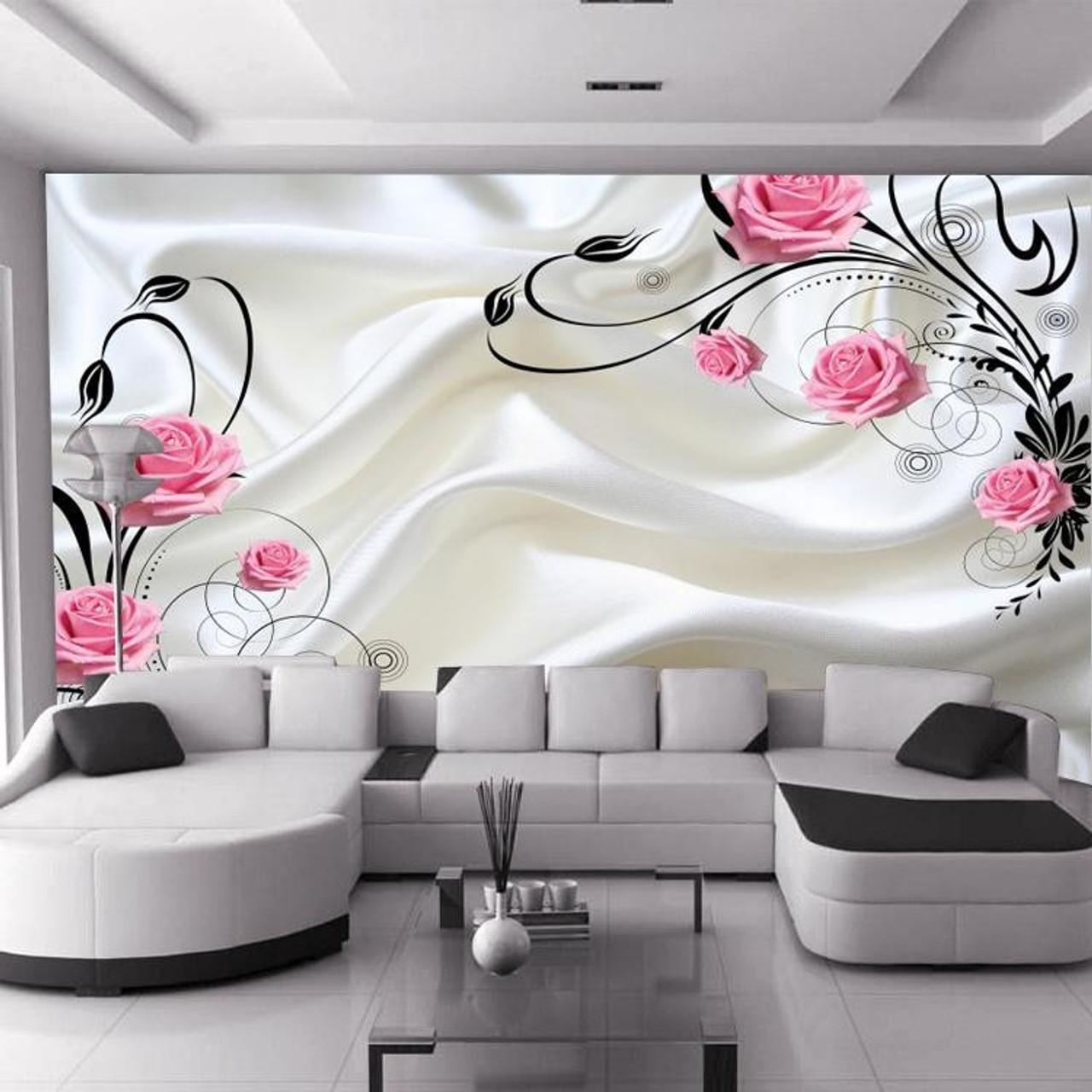 13D wallpaper wallpaper TV background wall painting silk pink rose beautiful  marriage room simple flower vine living room