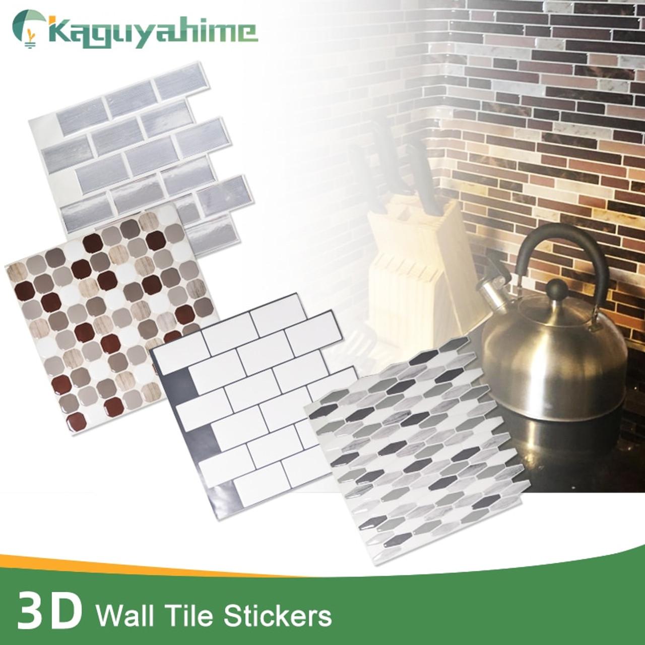 kaguyahime 10pcs self adhesive mosaic tiles diy 3d wall stickers ceramic tile imitation ceramic crystal waterproof wallpaper