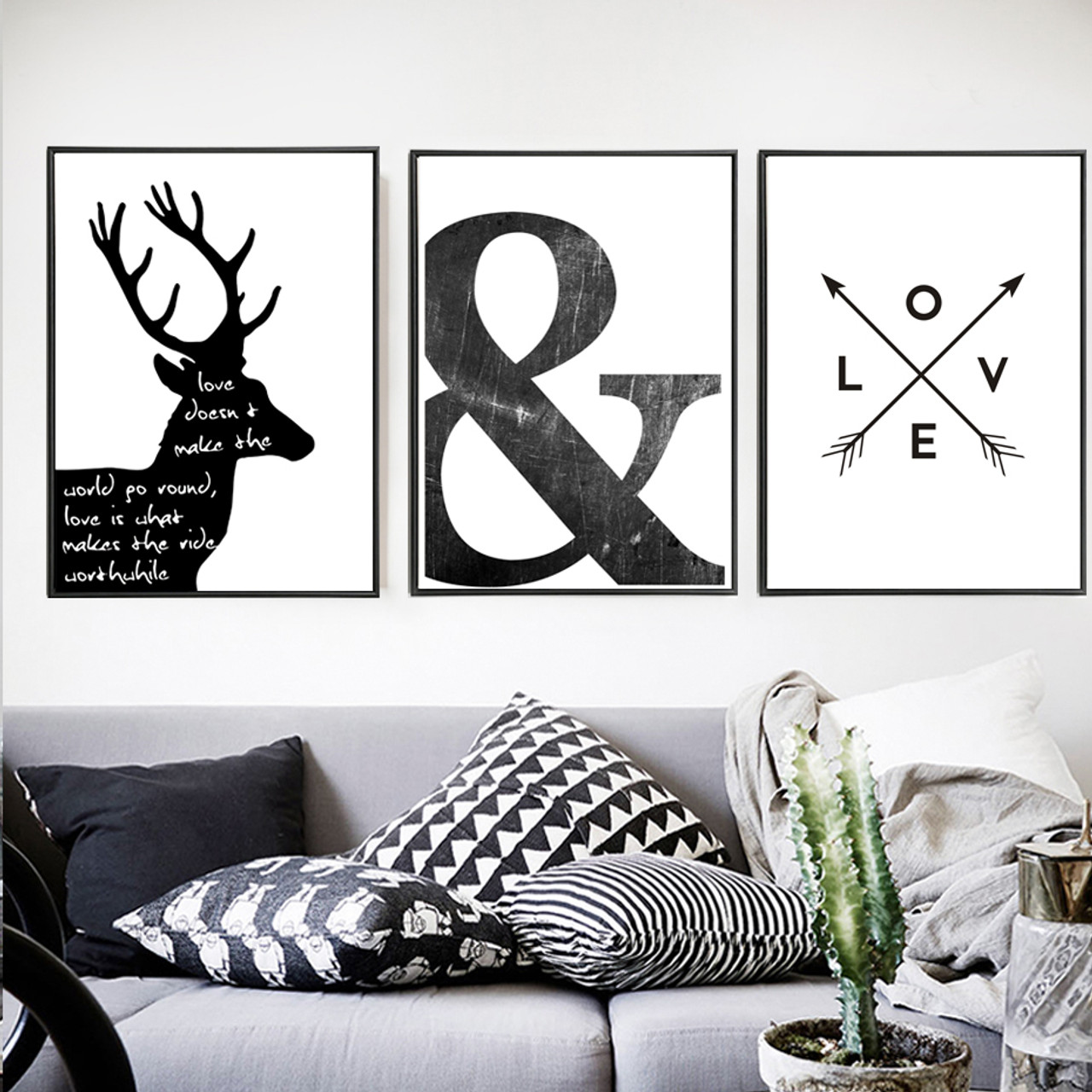 Abstract Minimalist Symbol Canvas Painting Black White Nordic Scandinavian Wall Art Picture Poster Print Living Room Home Decor Onshopdeals Com