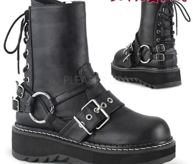 Womens Demonia Lilith 210 Rear Lace Up Ankle Boots