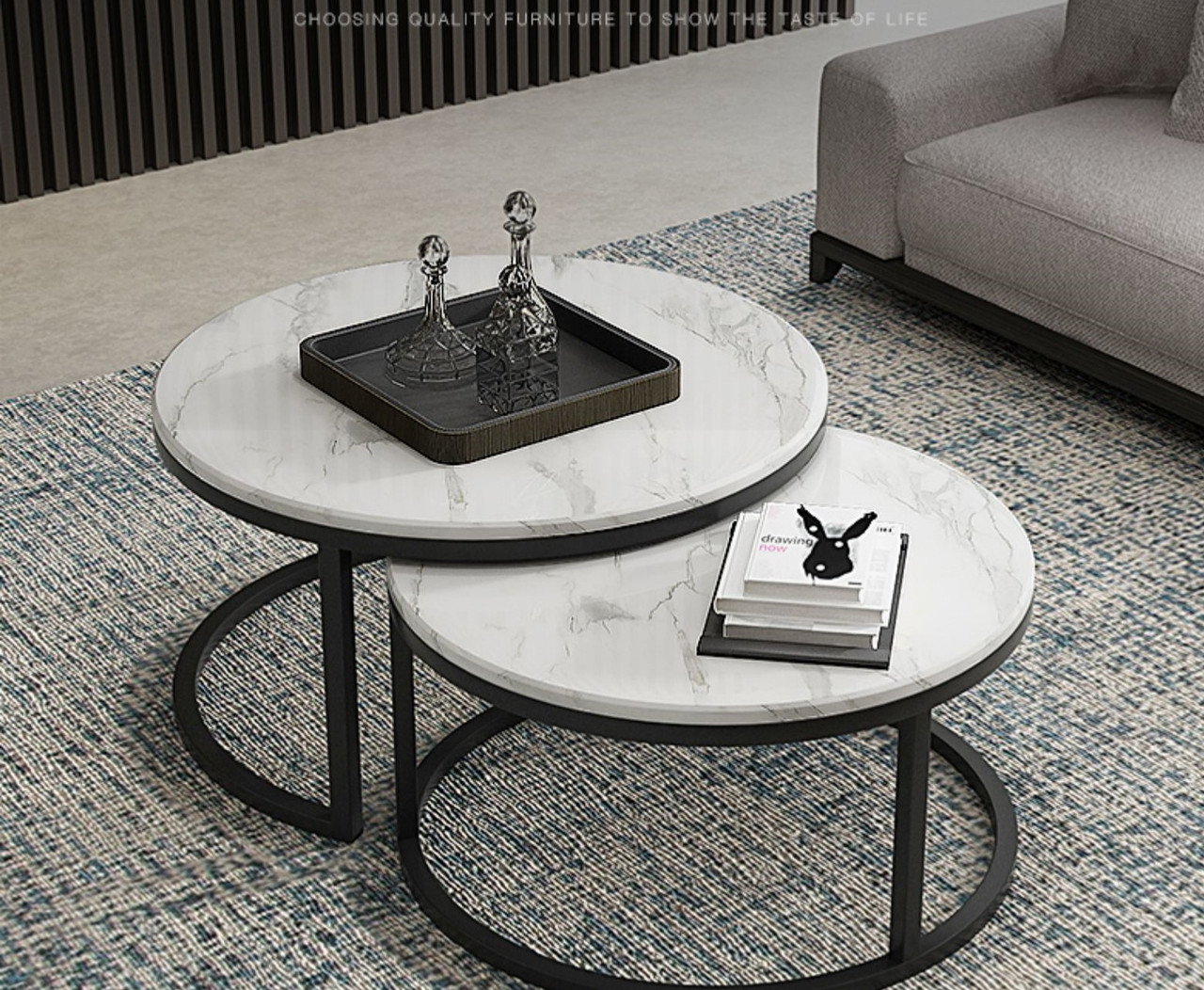 brand new natural marble coffee table top set of 2 round black legs