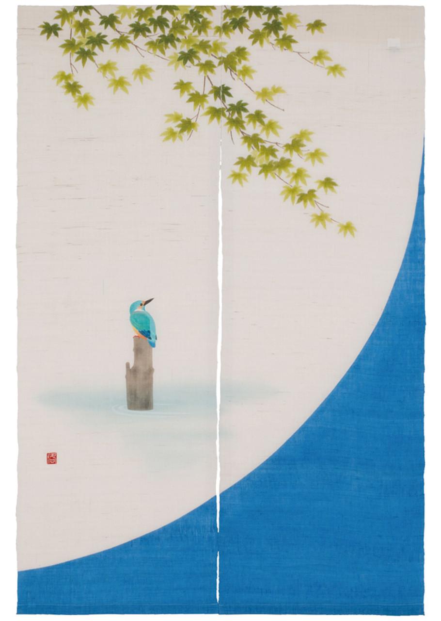 kyoto noren japanese door curtain kaede and kingfisher made in japan handcraft