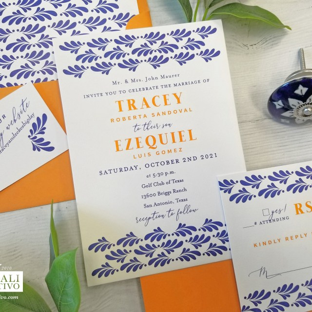 Spanish Talavera Tile Blue & Orange Wedding Invitations
