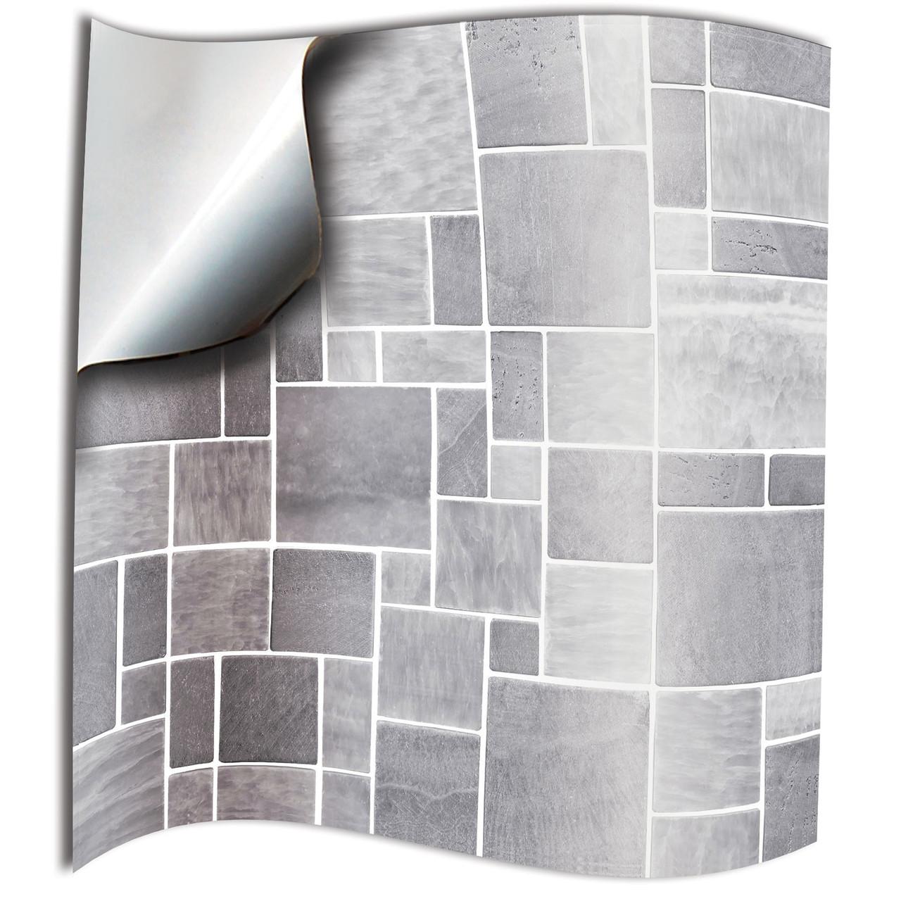 24 bathroom tile stickers kitchen backsplash light grey tile decals 15x15 10x10cm tile transfers 6x6 4x4