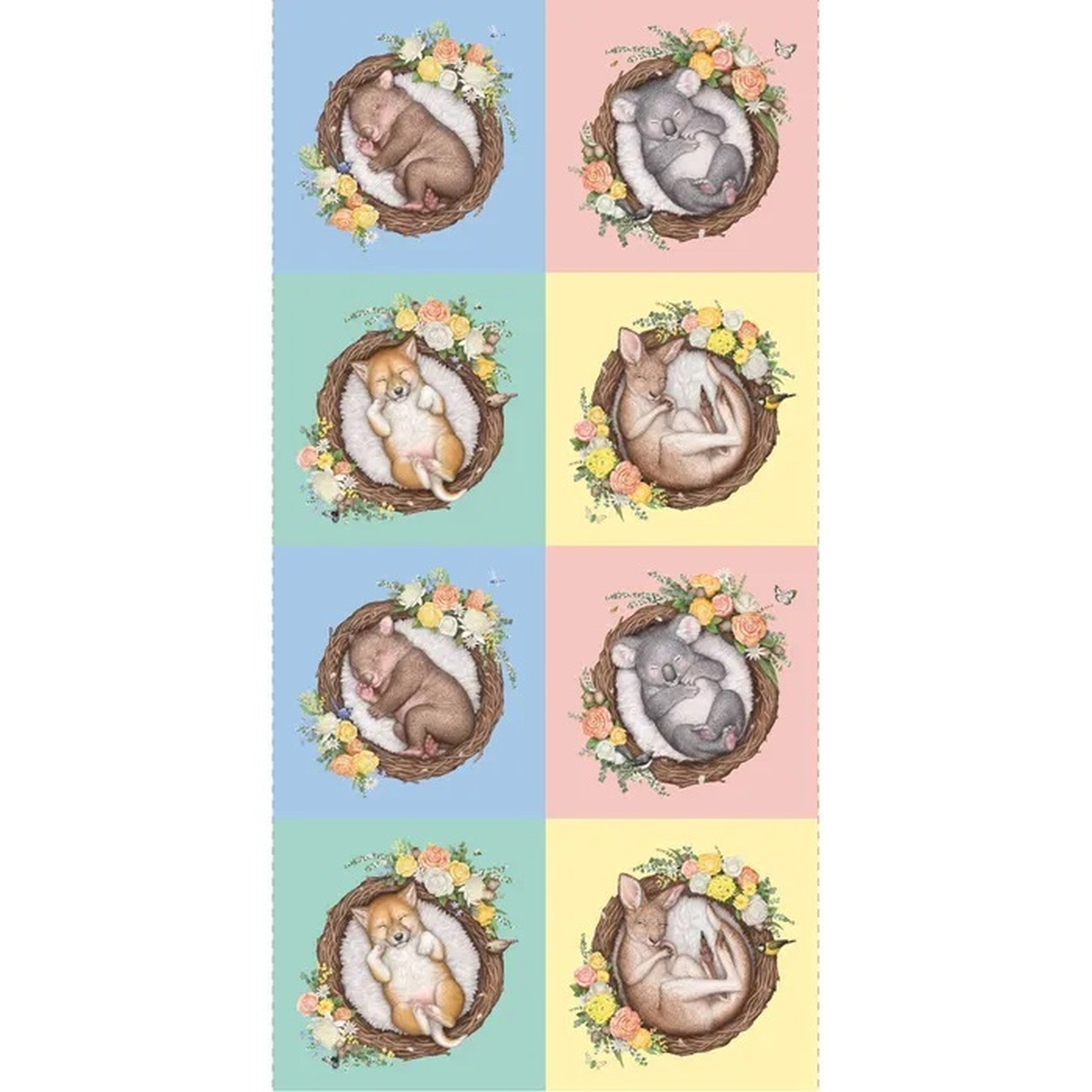 australian native nursery cot babies cotton quilting fabric panel