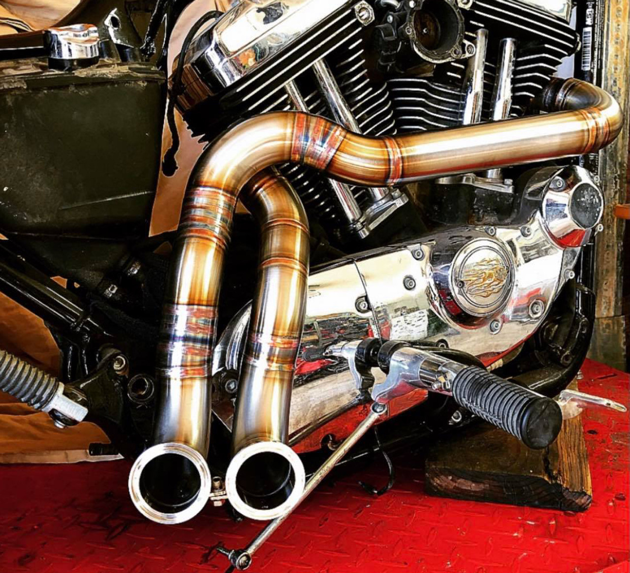 graffeo twisted dual flat tips stainless steel original exhaust system for harley