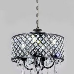 New Galaxy Lighting 4 Light Antique Black Round Metal Shade Crystal Chandelier Pendant Hanging Ceiling Fixture New Galaxy Lighting
