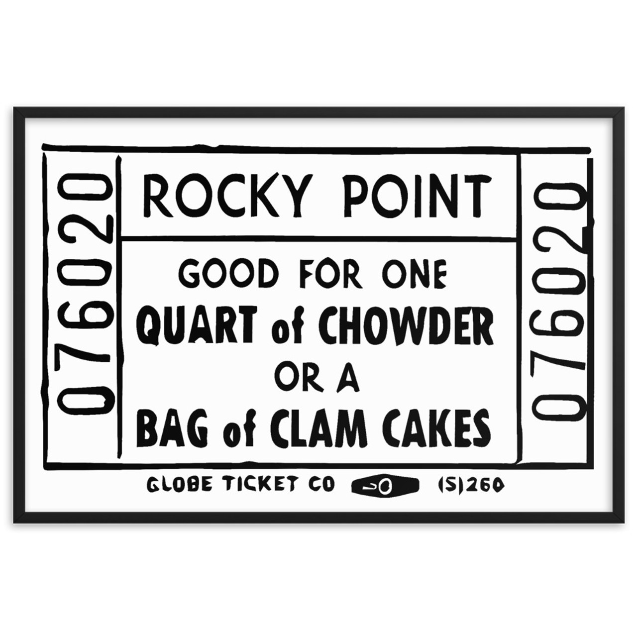 rocky point chowder clam cake ticket 002 framed matte paper poster